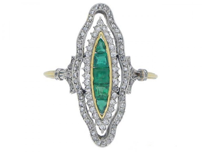 front view Antique emerald and diamond ring, circa 1900.