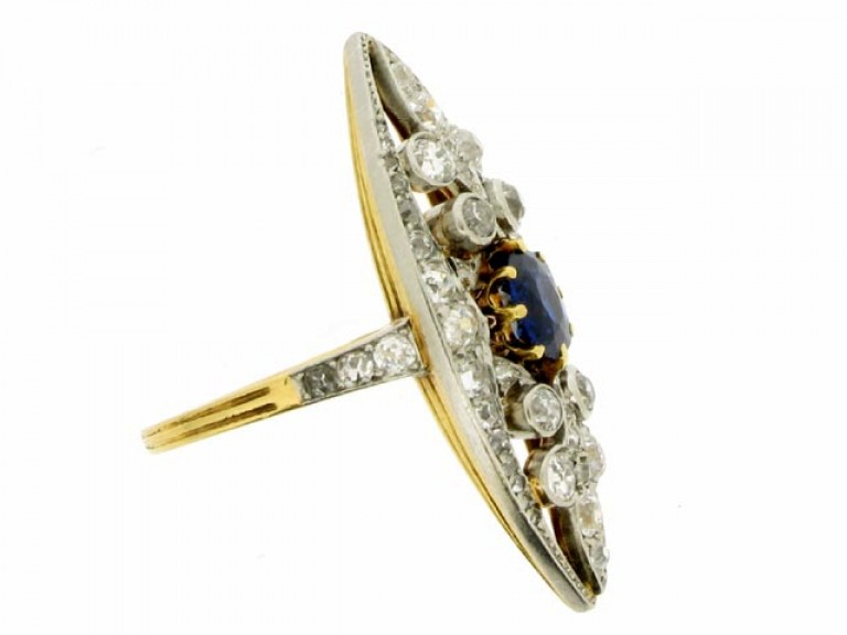 Belle Époque sapphire and diamond ring