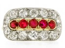 front veiw Ruby and diamond saddle ring, circa 1920.