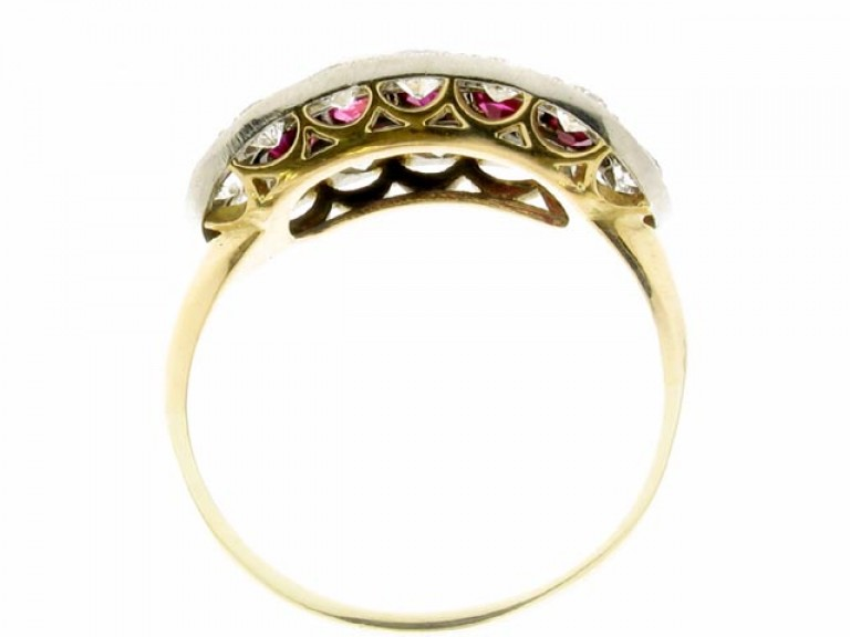 back view Ruby and diamond saddle ring, circa 1920.