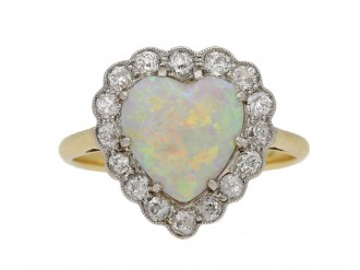 Heart shape opal and diamond coronet cluster ring, circa 1910. bergaza hatton garden