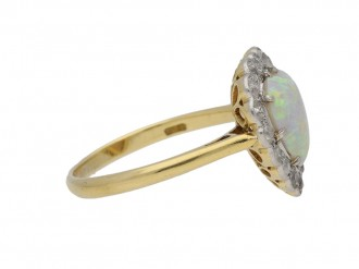 Heart shape opal and diamond coronet cluster ring, circa 1910. bergaza hatton garden