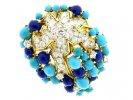 front view Boucheron turquoise lapis diamond brooch berganza hatton garden