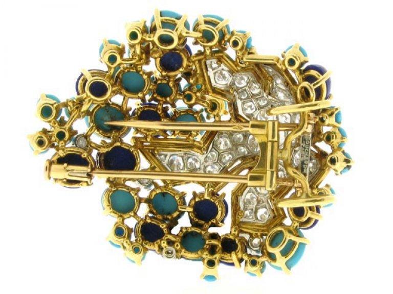 Boucheron turquoise lapis diamond brooch berganza hatton garden