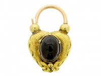 front view Antique padlock set with garnet and hair