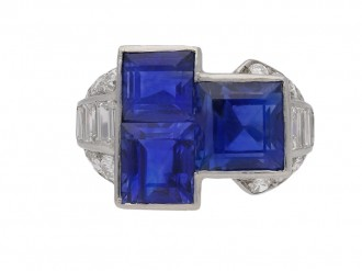 front view art deco blue sapphire diamond ring hatton garden berganza