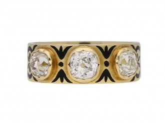 Antique diamond black enamel ring berganza hatton garden