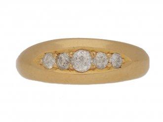 front view Five stone diamond ring, circa 1902.
