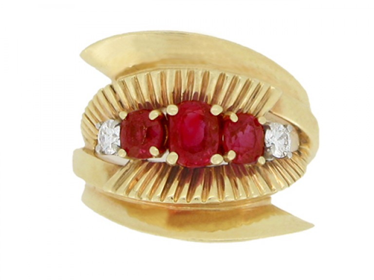 front view J. E. Caldwell ruby and diamond cocktail ring