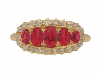 front view Antique five ruby and diamond cluster ring, circa 1900.