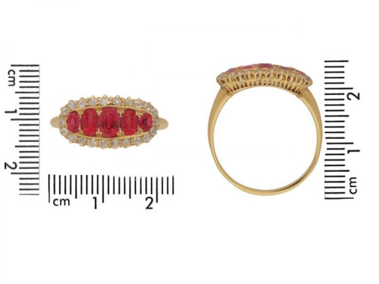 size view Antique five ruby and diamond cluster ring, circa 1900.