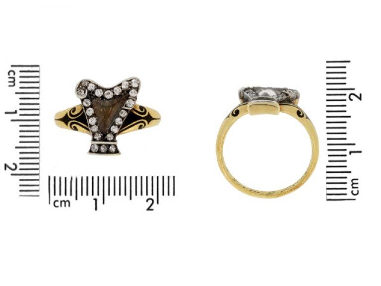 size view Antique enamel diamond memorial ring berganza hatton garden