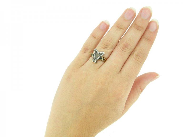 hand view Antique enamel diamond memorial ring berganza hatton garden