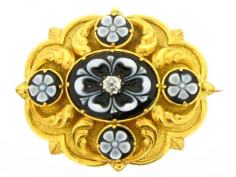 front view Antique Onyx and Diamond Brooch with Locket Back, circa 1860.