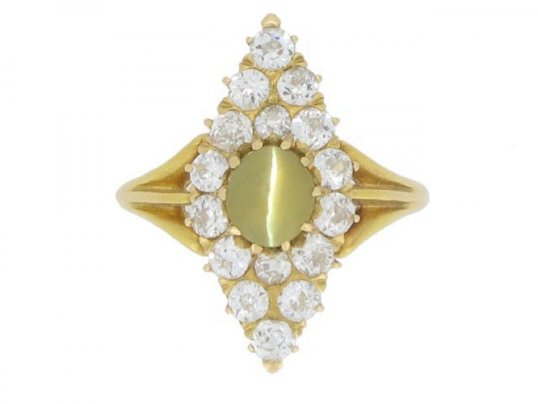 front view Antique 'cat's eye' chrysoberyl and diamond marquise shape ring, circa 1900.