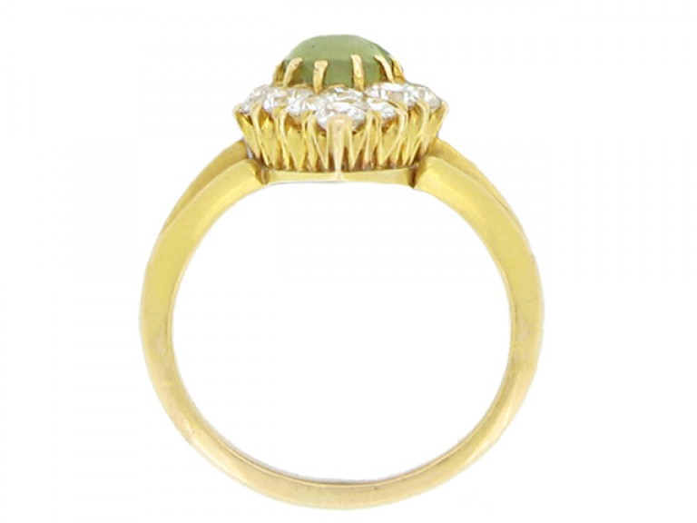 back view Antique 'cat's eye' chrysoberyl and diamond marquise shape ring, circa 1900.