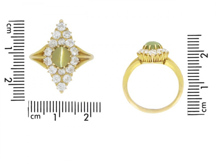size view Antique 'cat's eye' chrysoberyl and diamond marquise shape ring, circa 1900.