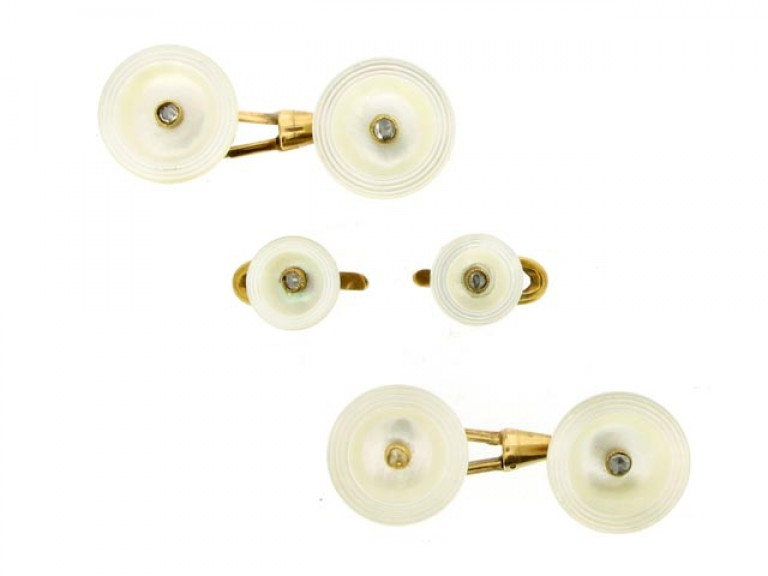 Antique mother of pearl and diamond cufflinks and stud set, Austro Hungarian, circa 1900.