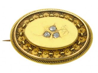 front view Antique Rose Diamond Set Brooch,