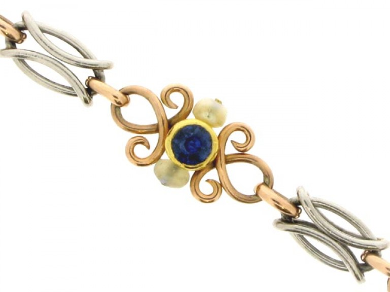 front view Sapphire and Natural Pearl Bracelet in Platinum and Gold.