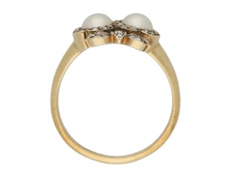 Antique double heart pearl ring berganza hatton garden