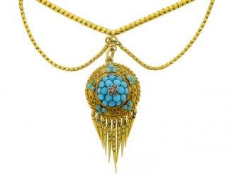 Antique turquoise and rose diamond necklace berganza hatton garden