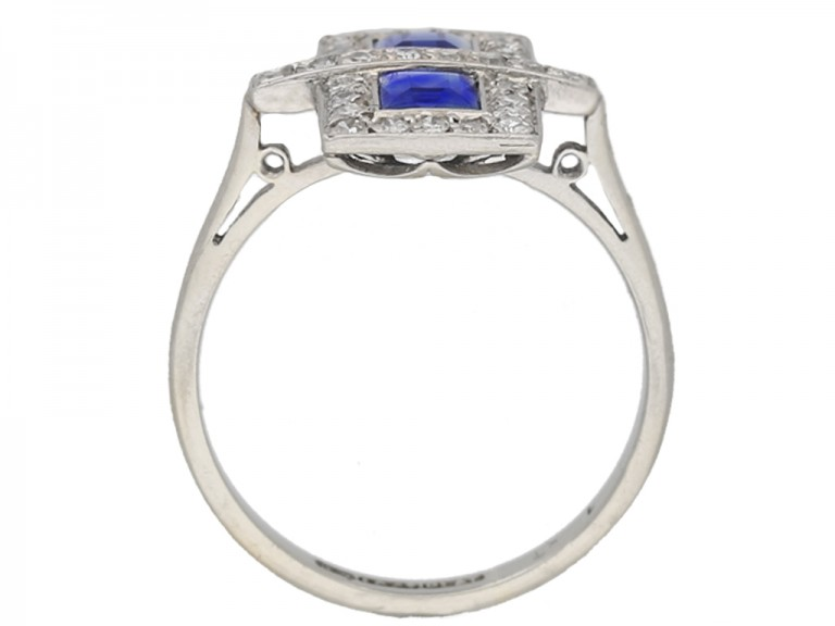 back view Art Deco sapphire and diamond ring, circa 1925 hatton garden berganza