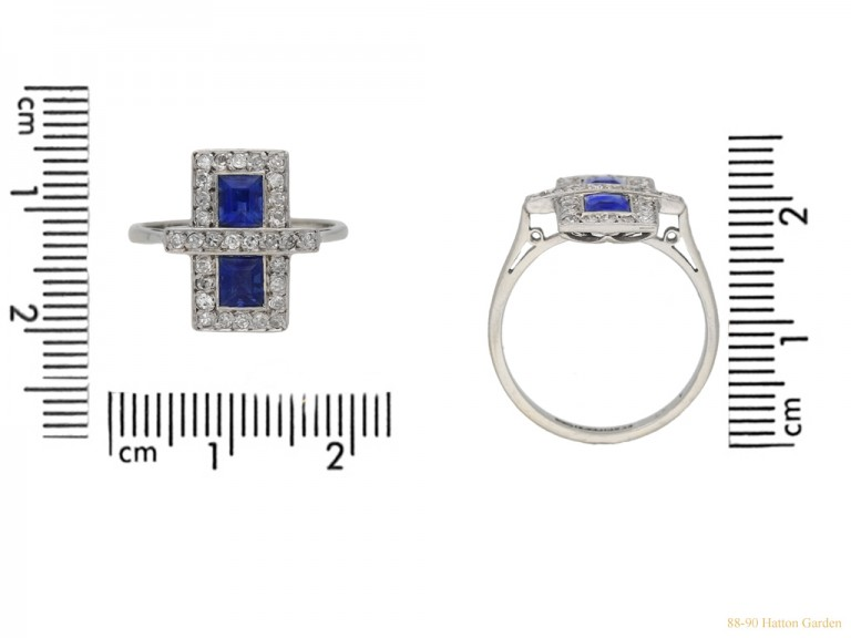 size view Art Deco sapphire and diamond ring, circa 1925 hatton garden berganza