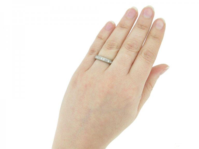 hand view antique diamond eternity ring berganza hatton garden