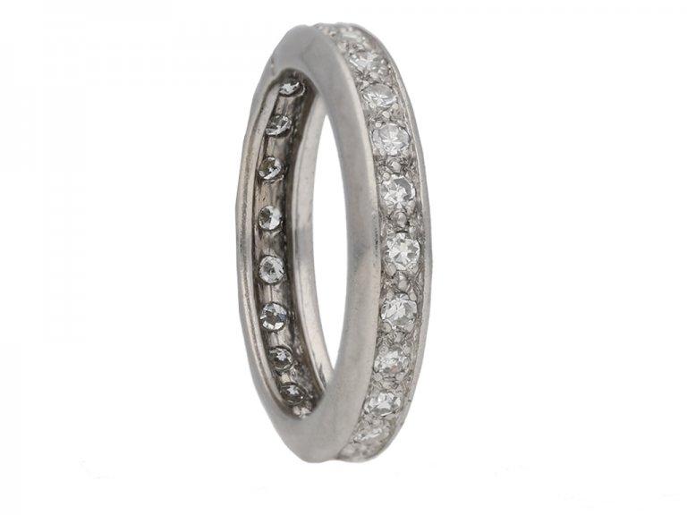 side view antique diamond eternity ring berganza hatton garden