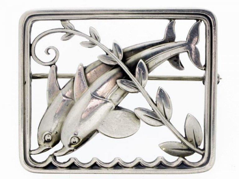 Sterling Silver Dolphin Brooch by George Jensen, C. 1950.