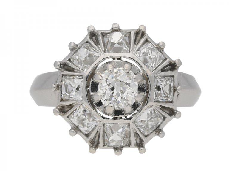 Art Deco diamond cluster ring berganza hatton garden