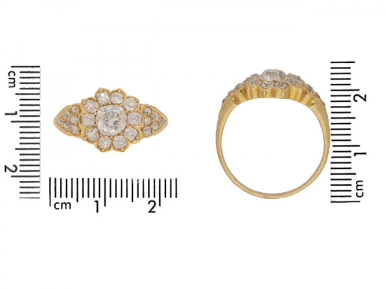 siz eview Old mine diamond cluster ring, circa 1880.