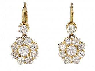 Antique Diamond Cluster Earrings berganza hatton garden
