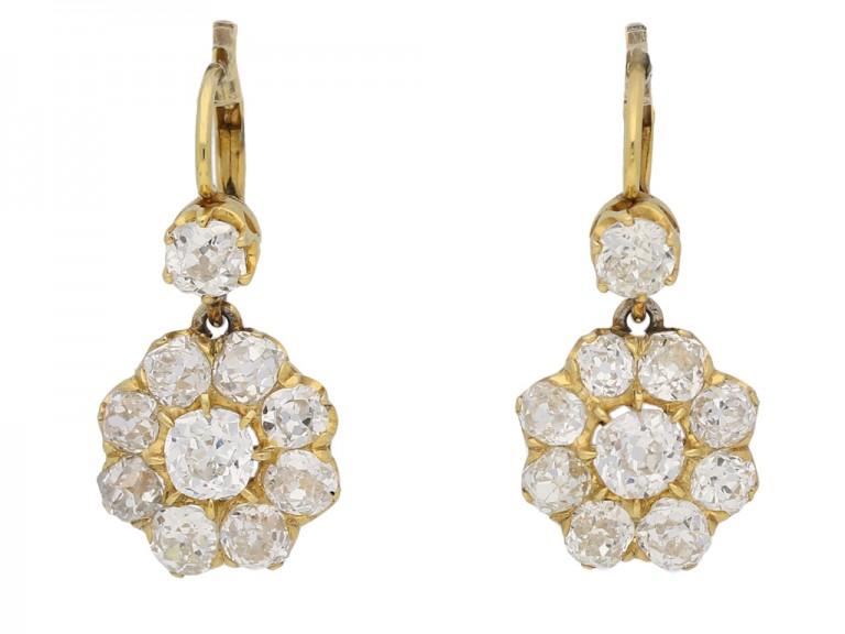 Antique Diamond Cluster Earrings berganza hatton garden