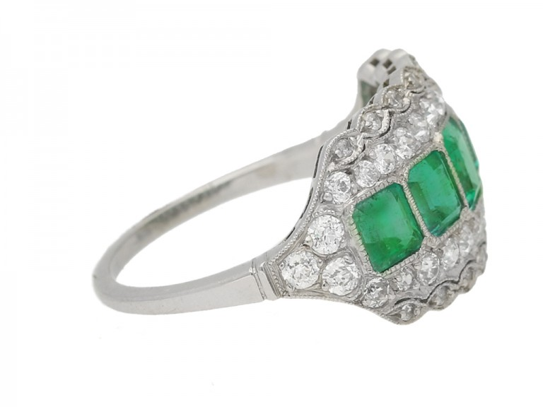 side view antique emerald diamond ring berganza hatton garden