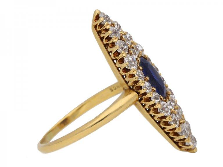 side view Victorian sapphire diamond ring berganza hatton garden
