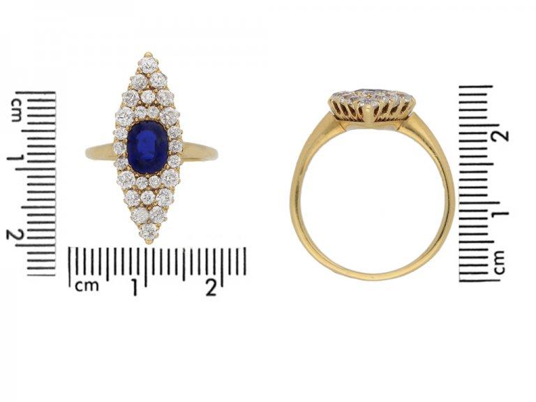 size view Victorian sapphire diamond ring berganza hatton garden