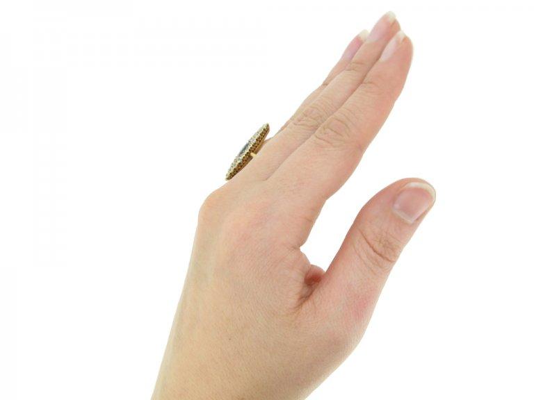 hand view Victorian sapphire diamond ring berganza hatton garden