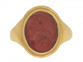 front view Ancient Roman cornelian intaglio, circa 200 AD, in a yellow gold setting, French, circa 1890.