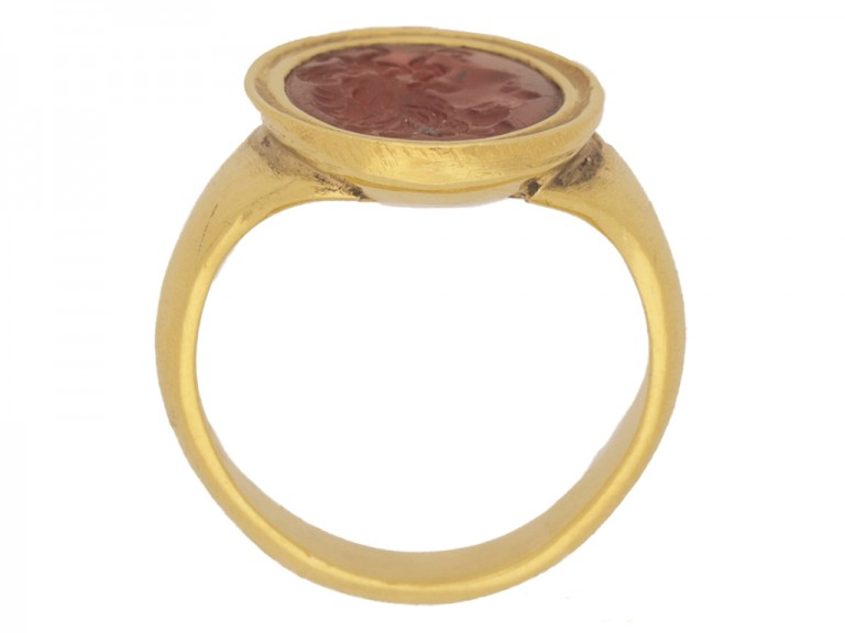 bak view Ancient Roman cornelian intaglio, circa 200 AD, in a yellow gold setting, French, circa 1890.