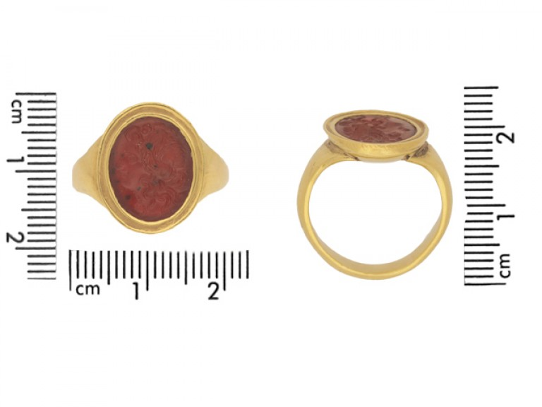size view Ancient Roman cornelian intaglio, circa 200 AD, in a yellow gold setting, French, circa 1890.