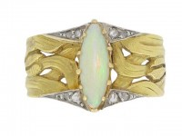 front view Art Nouveau opal and diamond ring, French, circa 1900.