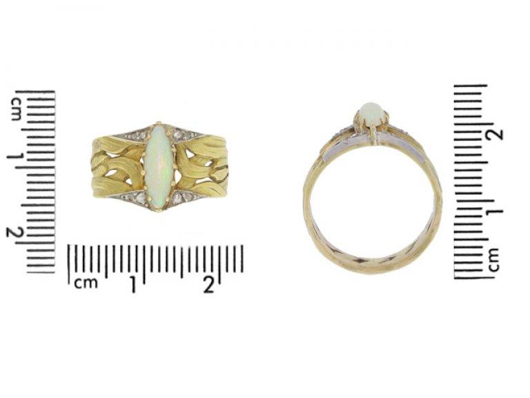 size view Art Nouveau opal and diamond ring, French, circa 1900.