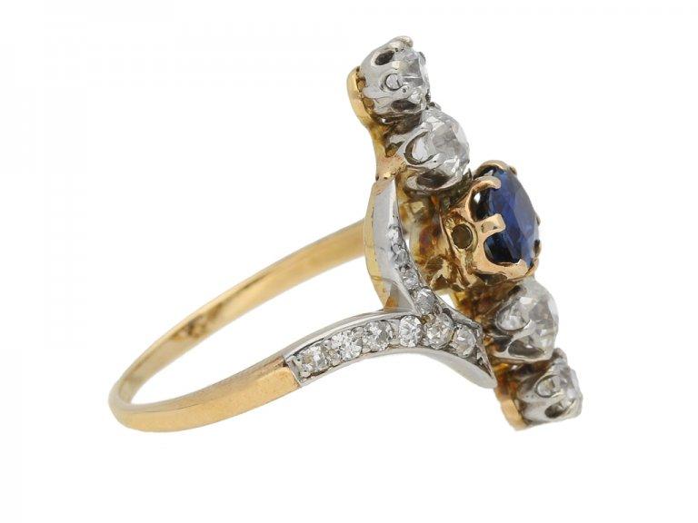 side view Antique Sapphire Diamond Ring berganza hatton garden