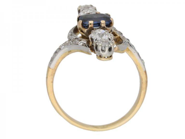 back view Antique Sapphire Diamond Ring berganza hatton garden