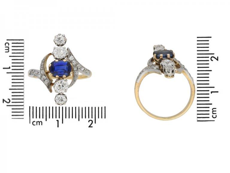 size view Antique Sapphire Diamond Ring berganza hatton garden