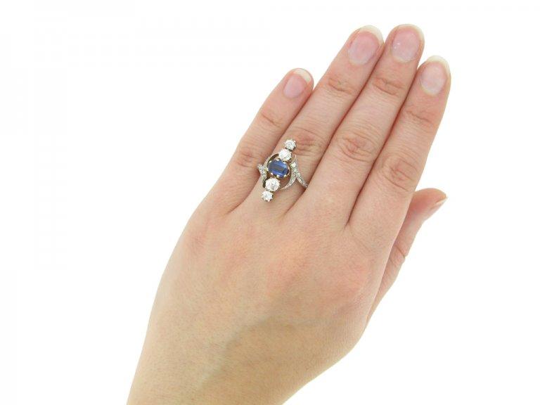 hand view Antique Sapphire Diamond Ring berganza hatton garden