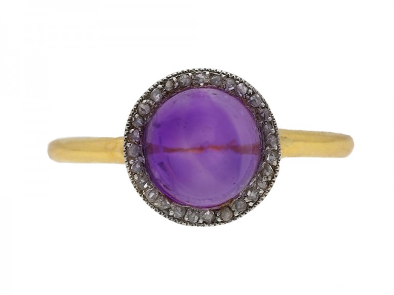 front view Amethyst cabochon and rose diamond coronet cluster ring circa 1905 berganza hatton garden