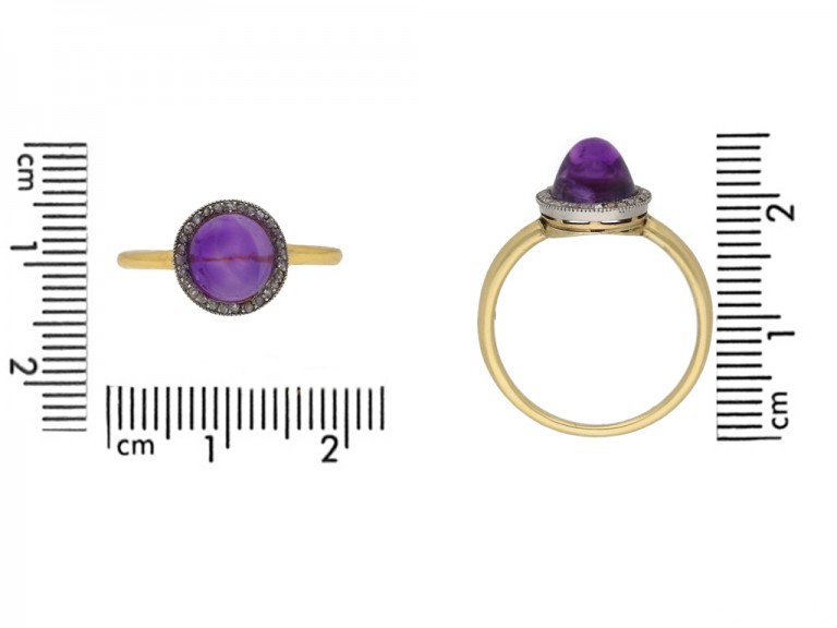 size view Amethyst cabochon and rose diamond coronet cluster ring circa 1905 berganza hatton garden